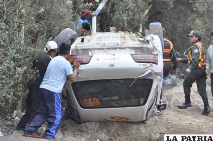 Así quedó el coche de Veizaga luego de cruzar la meta