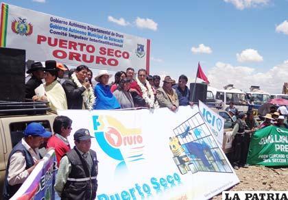 Acto de inauguración del muro perimetral del Puerto Seco