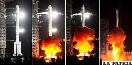 Secuencia del lanzamiento del satélite Túpac Katari, el cual ya se encuentra en órbita y se espera su funcionamiento al 100 por ciento en marzo