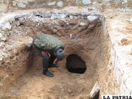 El forado que se encontró en el exterior del penal