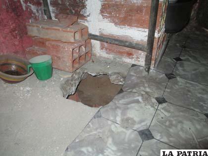 El hueco donde se enterraba el alcohol