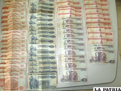 El dinero que se secuestró por la venta de la droga