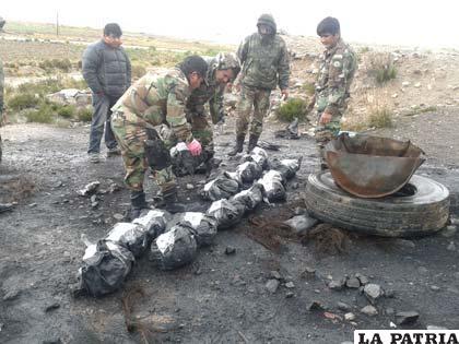"""El """"narco"""" carbón antes de su incineración"""