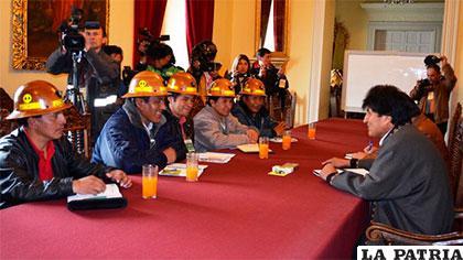 Reunión entre Fencomin y Evo Morales en Palacio /ABI