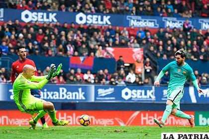 Messi, gran valor en Barcelona que venció a Osasuna (0-3)