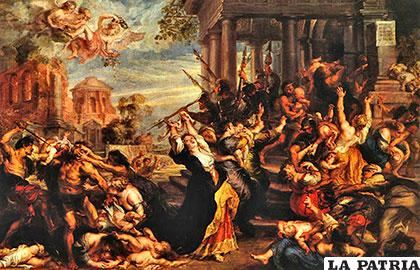 Representación pictórica de la matanza de pequeños niños de Belén asesinados por Herodes