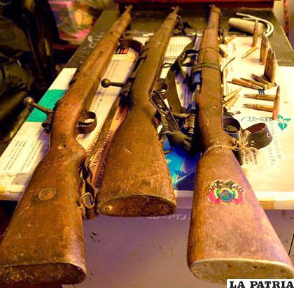 El armamento secuestrado a los presuntos narcos