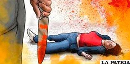 La mujer fue atacada con un cuchillo de cocina