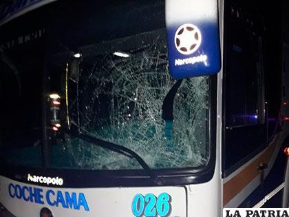 El parabrisas del bus golpeó la humanidad de la víctima fatal