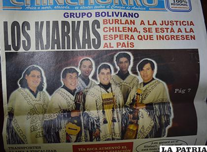 La portada del periódico chileno que acusó a los Kjarkas / LA PATRIA