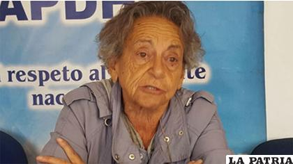 La presidenta de la Asamblea Permanente de Derechos Humanos de Bolivia (Apdhb), Amparo Carvajal