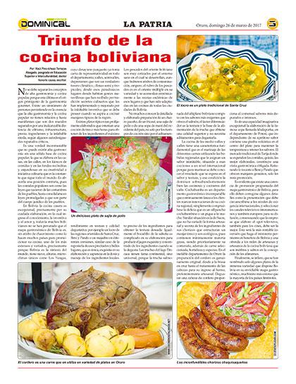 Cocina Boliviana | Triunfo De La Cocina Boliviana