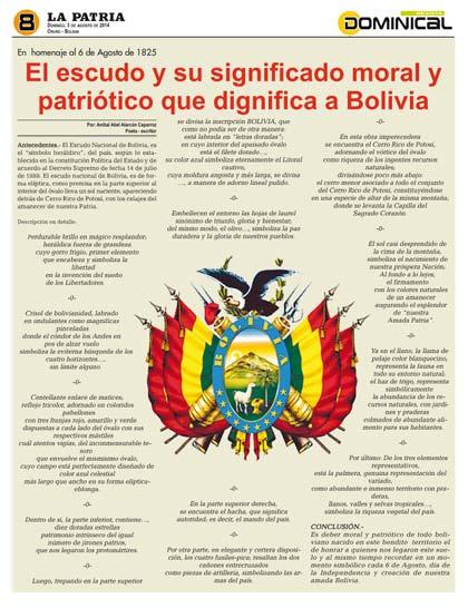 El escudo y su significado moral y patriótico que dignifica a Bolivia