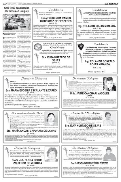 Sra elva hurtado de sejas q e p d for Cementerio jardin la paz bolivia