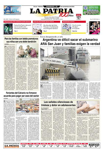 Bolivia - Nacional, noticias del 18 Nov 2018 - Periódico La