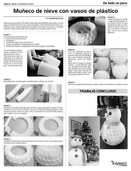 Muñeco De Nieve Con Vasos De Plásticos