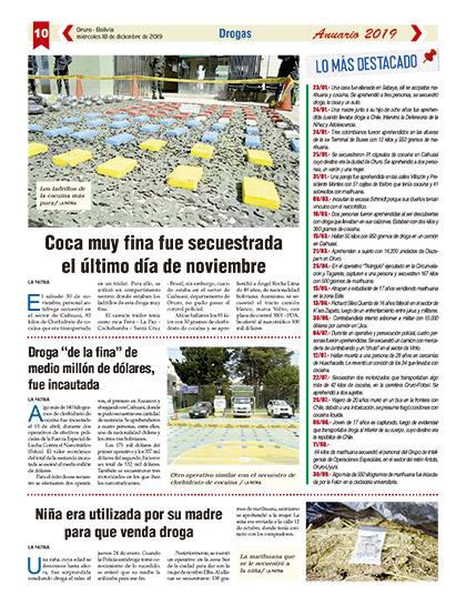 Coca Muy Fina Fue Secuestrada El último Día De Noviembre Periódico La Patria Oruro Bolivia
